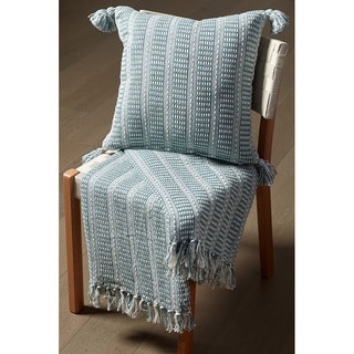 Striped Reversible Grey and Teal Cotton 50-inch x 60-inch Couch Throw