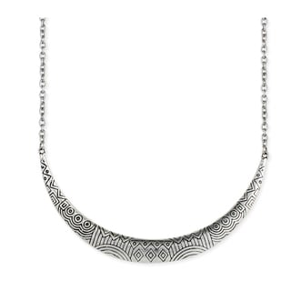 Etched Crescent Bib Silvertone Necklace