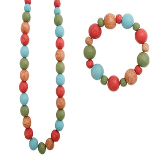 Handpainted Long Multi Painted Wood Bead Necklace and Bracelet Set