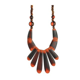 Handmade Brown Wood Bead Necklace Faded Bib (India)