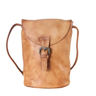 Diophy Genuine Leather Snap Closure Structured Crossbody Handbag - S