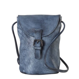 Diophy Genuine Leather Snap Closure Structured Crossbody Handbag - S (3 options available)