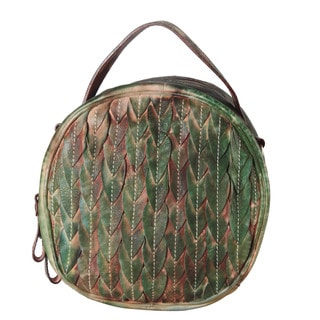 Diophy Feather-texture Grey, Green, Brown, and Grey Genuine Leather Crossbody Handbag