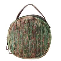 Diophy Feather-texture Grey, Green, Brown, and Grey Genuine Leather Crossbody Handbag - M