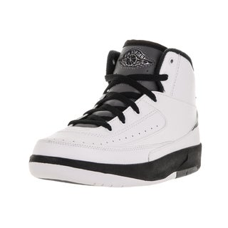 Nike Jordan Kids Jordan 2 Retro Bp White, Black, and Dark Grey Leather Basketball Shoe