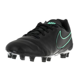 Nike Kids Jr Tiempo Legend VI Fg Black and Turqoise Soccer Cleat