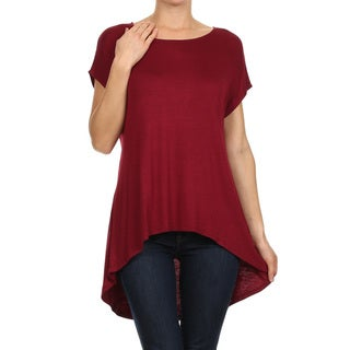 MOA Collection Women's Rayon and Spandex Capped-sleeve Solid Top