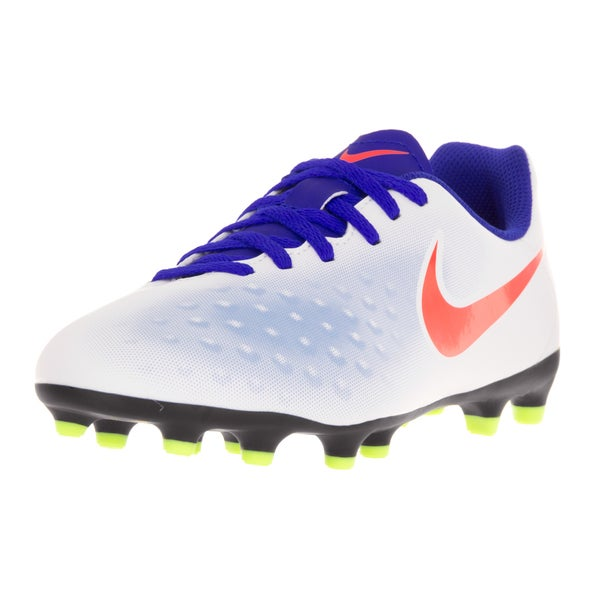 Nike Kids JR Magista Ola II Firm Ground White Bright Crimson Soccer Cleat b1ef6a86021