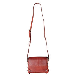 Diophy Genuine Leather Distressed Structured Crossbody Handbag