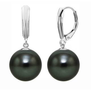 DaVonna Sterling Silver 12mm Round Shell Pearl Lever-back Earrings