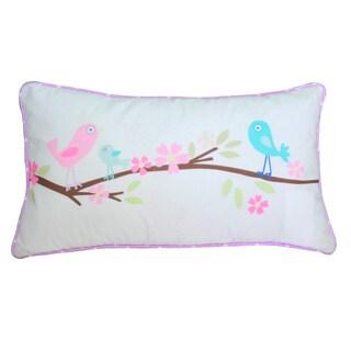Pink Owl Cotton Lumbar Throw Pillow
