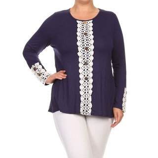 MOA Collection Women's Rayon and Spandex Lace Trim Plus-size Crochet Button Tunic