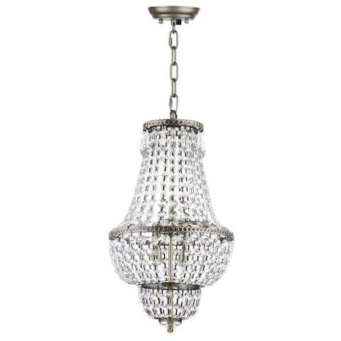 "Safavieh Lighting Amoret Adjustable 4-light Brass Beaded Chandelier - 12.125""x12.125""x26 - 98"" - 12.125""x12.125""x26 - 98"""