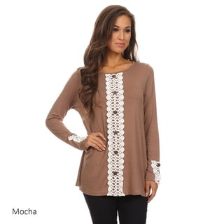 MOA Collection Women's Crochet Lace Button Trim Rayon, Spandex Top
