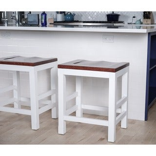 Haven Home Brant White/ Walnut Kitchen Counter Barstool by Hives & Honey