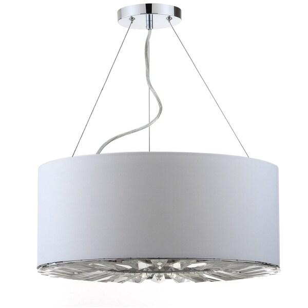 Safavieh Lighting 17.75-inch Fernando 3-light Chrome Adjustable Drum Pendant
