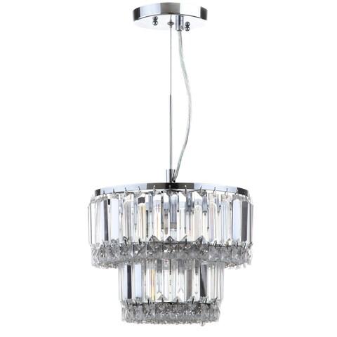 "Safavieh Lighting 10-inch Lulu 4-light Chrome Glass Adjustable Pendant - 10"" x 10"" x 13 - 82"""