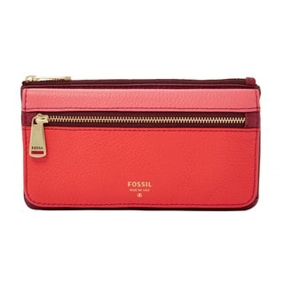 Fossil Preston Red Leather Flap Clutch Wallet