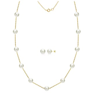 DaVonna 14k Yellow Gold 8-9mm White Freshwater Pearl Tin-cup Station Necklace and Stud Earrings Set