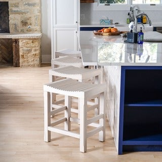 Haven Home Tristen White Kitchen Counter Barstool by Hives & Honey