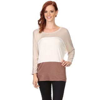 MOA Collection Women's Rayon and Spandex Color-block Knit Top
