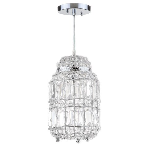 "Safavieh Lighting 7-inch Bellamy Chrome Glass Adjustable Pendant - 7"" x 7"" x 17 - 86"""