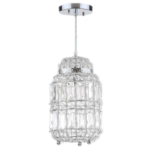 Safavieh Lighting 7-inch Bellamy Chrome Glass Adjustable Pendant