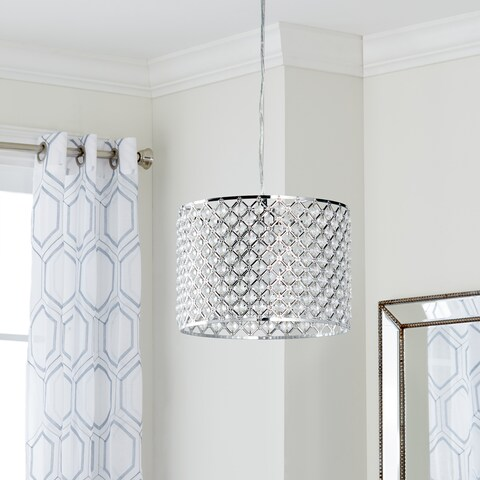 "Safavieh Lighting 12-inch Silva Chrome Beaded Adjustable Diamond Pendant - 12"" x 12"" x 13 - 82"""