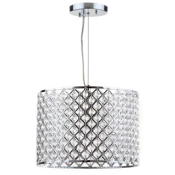 Safavieh Lighting 12-inch Silva Chrome Beaded Adjustable Diamond Pendant