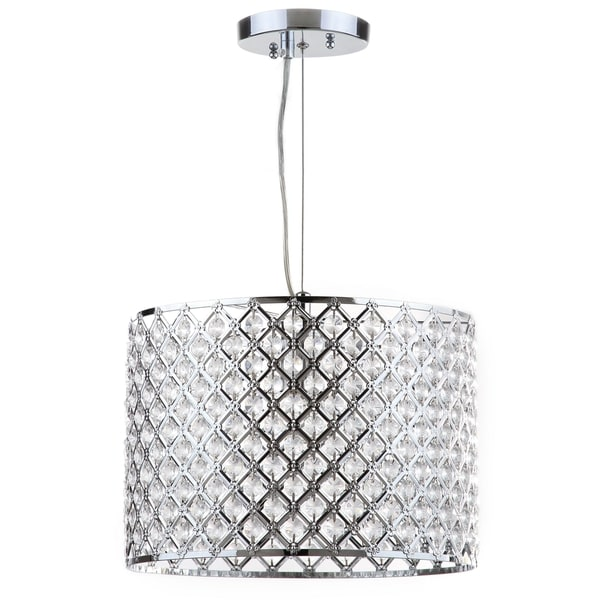 Safavieh Lighting Silva Chrome Beaded 12-Inch Adjustable Diamond Pendant