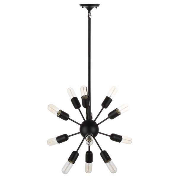 Safavieh Lighting 17.5-inch Raging 12-light Black Edison Bulb Solace Pendant