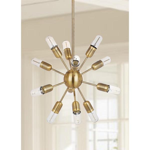 Safavieh Lighting 17.5-inch Raging 12-light Gold Edison Bulb Solace Pendant