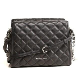 Michael Kors Rachel Medium Black Leather Satchel Handbag