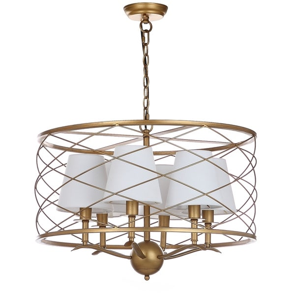 Safavieh Lighting 25.25-inch Thea Gold Adjustable Pendant Lamp