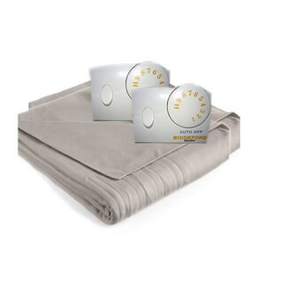 Biddeford Comfort Knit Fleece Heated Blanket with Analog Control-Grey