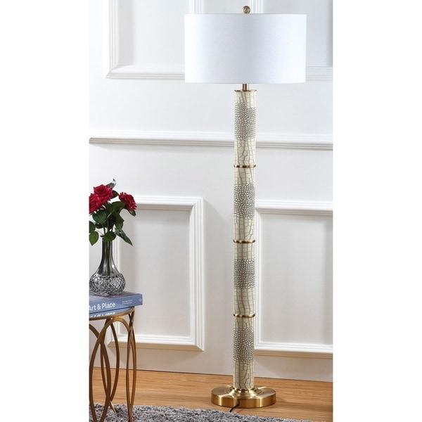 Safavieh Lighting 60.5-inch Marcello Faux Crocodile Cream Floor Lamp