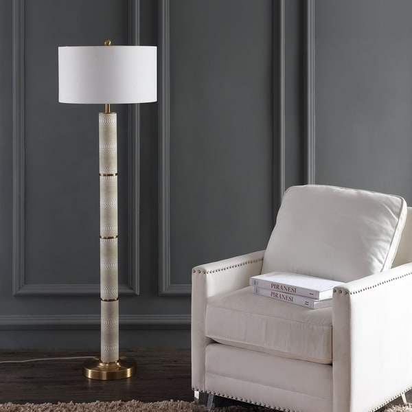 Safavieh Lighting 60.5-inch Marcello Faux Snakeskin Cream Floor Lamp