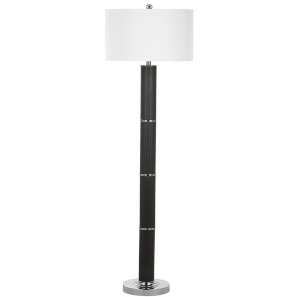 Safavieh Lighting 60.5-inch Marcello Faux Woven Leather Grey Floor Lamp