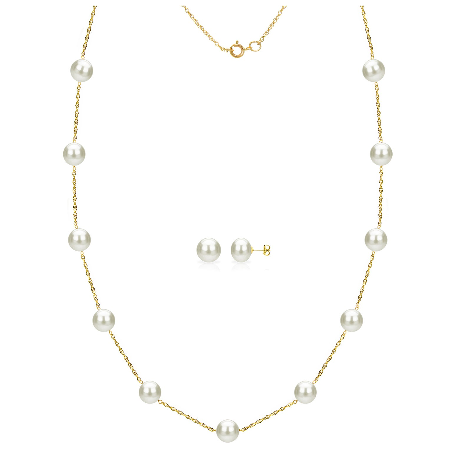 """16/"""" 18/"""" or 20/"""" 6-7mm White Pearl 14K White Gold Tin Cup Necklace"""