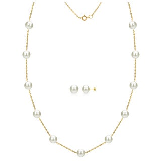 DaVonna 14k Yellow Gold 7-8mm White Freshwater Pearl Tin-cup Station Necklace and Stud Earrings Set