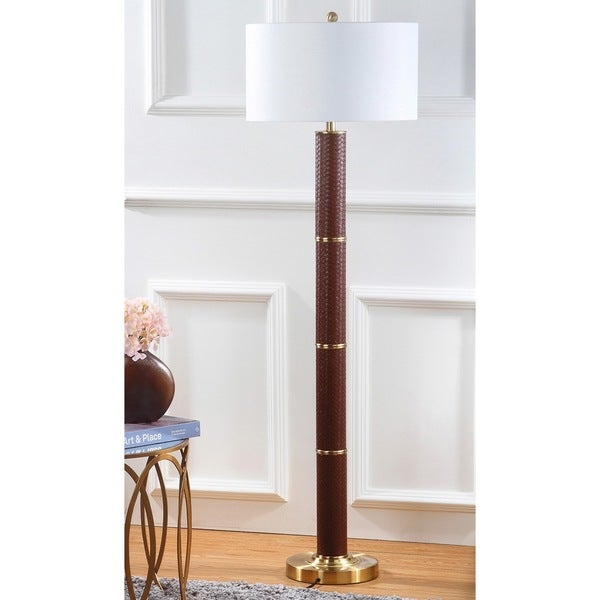Safavieh Lighting 60.5-inch Marcello Faux Woven Leather Brown Floor Lamp