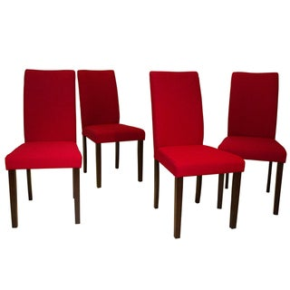 Link to Shino Crimson Linen 39-inch Set of 4 Dining Chairs Similar Items in Dining Room & Bar Furniture