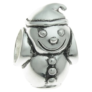 Queenberry Sterling Silver Snowman European Bead Charm