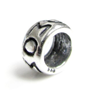 Queenberry Sterling Silver MOM Round Spacer Bead European Bead Charm