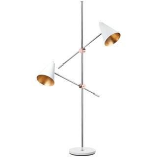 Safavieh Lighting 71-inch Reed Chrome/ White Floor Lamp