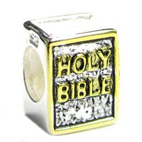 Sterling Silver Goldplated Sterling Silver Bible European Bead Charm