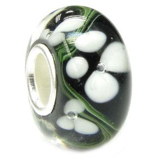 Queenberry Sterling Silver Black Murano Flower Glass Bead forBracelets