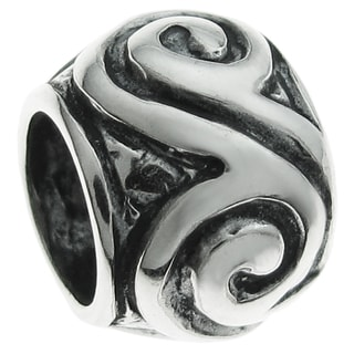 Queenberry Sterling Silver Round Swirl European Bead Charm