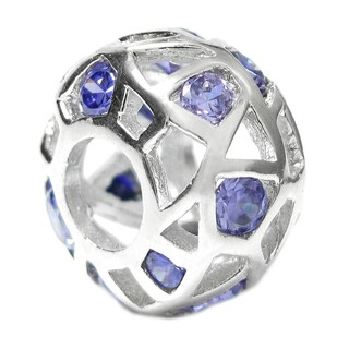 Queenberry Sterling Silver Ball Purple Cubic Zirconia Crystal European Bead Charm