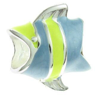 Queenberry Sterling Silver Blue Enamel Tropical Angel Fish European Bead Charm